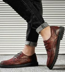 Men's Casual Leisure Leather Shoes Lace up Flats Business British Non-slip Soft