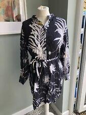H&M Anna Glover Shirt Dress Stunning Grey Floral Uk 8-10