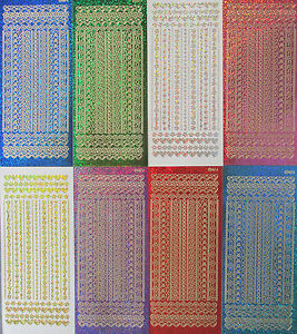 DIAMOND SHIMMER HOLOGRAPHIC MIXED BORDERS Lines Flowers Hearts PEEL OFF STICKERS