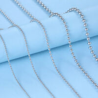 """Solid 925 Sterling Silver Bead Curb Trace Chain Necklace 16""""18""""20"""" inches Lady"""