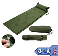 Self Inflatable Mat Green Single Camping Mattress Air Bed roll Indoor Outdoor