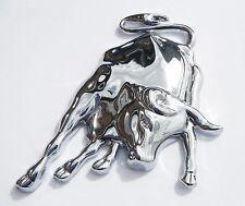 Bull Badge Chrome Metal Charging Bull Emblem Self Adhesive BRAND NEW