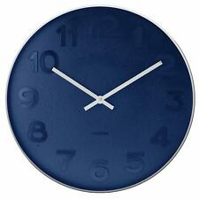 Karlsson Mr Blue Office Bedroom Modern Wall Clock, 37cm, Steel Polish