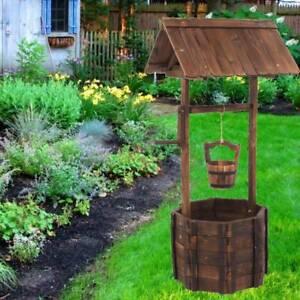 Wooden Wishing Well Planter Outdoor Flower Pot Backyard Garden Décor