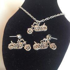 Motor Bicicleta collar y aretes que empareja chapado en plata.