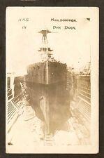 REAL-PHOTO PC:  H.M.S. MARLBOROUGH - BRITISH NAVY WW-1 BATTLESHIP - IN DRY DOCK
