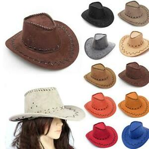 Cowboy Hat Mens Women Western Hats Retro Panama Suede Crimping 20 Colours Party