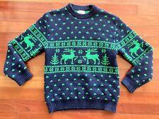 VTG United Colors of Benetton Nordic Navy Shetland Wool Ski Sweater Italy Medium