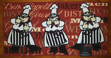 NWT THREE CHEFS STRIPED COOKS KITCHEN MAT RED BURGUNDY DECOR NON SKID RUG 20x40