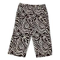 Chicos 1 Crop Linen Pants Mid Rise Zebra Brown White