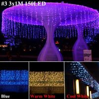 96/240/300 LEDS Fée Fil clair noël fête mariage rideau jardin arbre