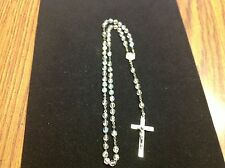 """Vintage Rosary Rosaries Clear Multicolored Beads Marked Italy 14.5"""" Long Used"""