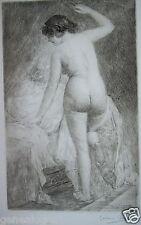 GASTON GERARD 1859-? GRAVURE EROTISME LA FEMME NUE AU BORD DU LIT EROTIQUE a