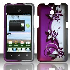 For Huawei H881C ACE Rubberized HARD Case Phone Cover Purple Silver Vines