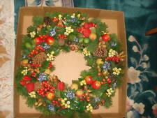 "VINTAGE PLASTIC FRUITS CHRISTMAS HOLIDAY HUGE BIG WREATH GARLAND 24"" DIAMETER"
