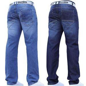 New Mens Straight Fit Designer Regular Jeans Pants Waist Sizes by VON DENIM