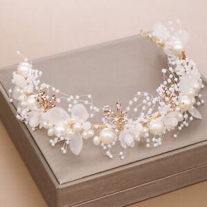 Big Flower White Pearl Crystal Hair Head Band Accessories Bridal Wedding
