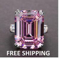 Natural Aquamarine Diamond Ring 14K white Silver Women's Big Engagement Jewelry