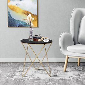 HOMCOM Wood Metal Coffee Round Table W/ Storage Sofa End Side Coffee Table Φ43cm