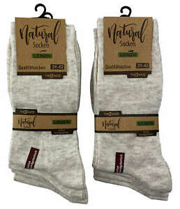 4-20 Paar Socken mit Leinen ohne Gummibund natur-meliert extraweich Herren Damen