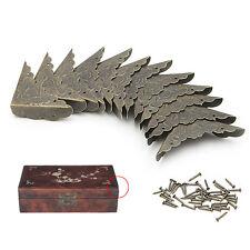 12Pcs Retro Bronze Decor Jewelry Gift Box Wooden Corner Protector Guard 58x42mm