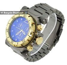 mens big heavy gunmetal clubbing watch gold bezel dial heavy bracelet designer
