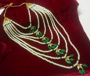 Indian Bridal Hyderabadi Pearls Necklace Wedding CZ Jadau Wedding Rani Haar Gift