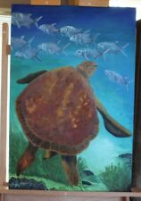 """""""Lunch"""" - Sea Turtle & Fish - Original Oil on Canvas 24"""" X 36""""  - Beverly Goding"""