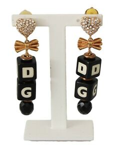 DOLCE & GABBANA Earrings Gold Clear Crystal Heart Clip On Dangling Bow