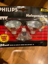 (3 Pack) Philips MR16 Halogen Bulbs 12V 50W GU5.3 Base Indoor Flood Reflector