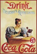 "TARGA VINTAGE ""1904 COCA COLA DRINK"" PUBBLICITA', ADVERTISING, POSTER, BAR PLATE"