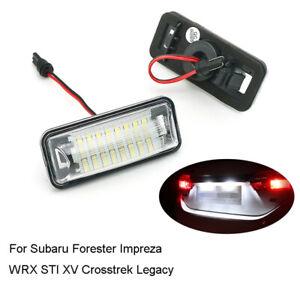 2Pcs Car LED License Plate Lights Lamps For Subaru Forester Impreza WRX STI XV