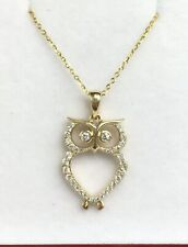 14k Solid Yellow Gold Set Necklace Owl Pendant Diamond. Retail $1450