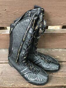 Nike Shox Boots Q'Vidia Black Patent Leather Mesh Boots 316565 Size 8.5