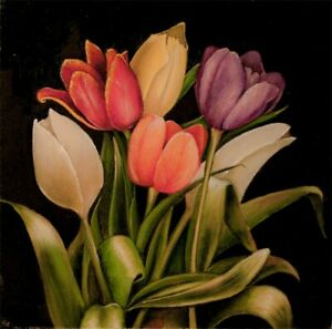 Original Vic Vicini Oil Painting Still Life -Tulip Flowers