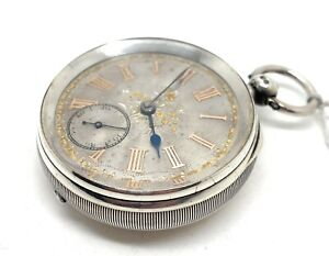 A 1894 Silvered Dial Open Faced Silver Cased Fusee Pocket Watch