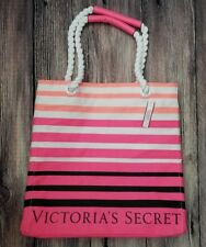 NEW! Victoria's Secret 2017 Limited Edition Striped Pink Canvas Beach Tote Bag