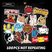 100pc Cartoon Car Sticker Decal Laptop Skateboard Stickers Bomb Doodle Graffiti