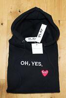Comme des Garçons Black Hoodie. Oh Yes. Red Heart. Size Medium. Uk Seller