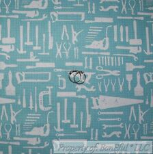 BonEful Fabric Cotton Quilt VTG Blue Saw Wood Craft Garage Man Tool Garage SCRAP