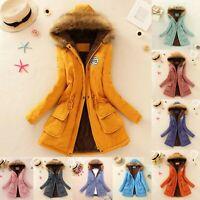 Womens Fur Lined Parka Jacket Coat Ladies Hooded Outwear Winter Warm Overcoat