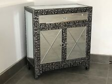 Blackened Silver Metal Embossed Mirrored Sideboard Cabinet Chest Of Drawers