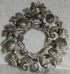 "Seashell Nautical Wreath Beach Metal Sea Shell Seahorse Lobster Silver 9"" Ocean"