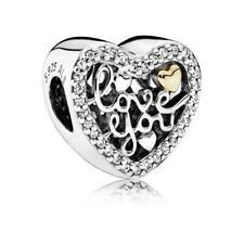 Original Pandora Amuleto Love You Plata de Ley Oro Cuentas Joya Mujer 792037CZ
