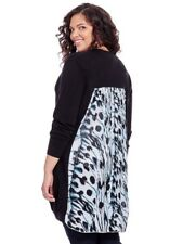 MELISSA MCCARTHY SEVEN7 CARDIGAN IN BIG BLACK WING PRINT SWEATER DUSTER LARGE