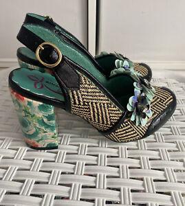 Poetic Licence A Secret Love Black/Green Womens Closed Toe Heels Shoes Size 5UK