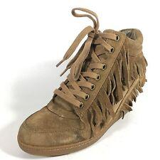 "Ash ""Beatnik"" 36 M Russet Tan Brown Fringed Suede High Top Fashion Sneakers"