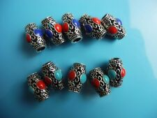 Set of 6 gem inlay Tibetan Silver Tube Dreadlock Dread Beads 5.5mm hole