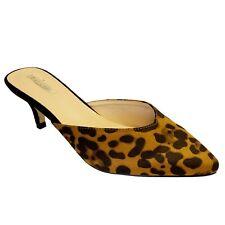 Ladies Women Animal Print Suede Low Kitten Heels Slip On Party Shoes Mules Size