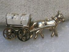 Vintage Enameled  Covered Wagon & Horse Brooch, 1950's-1960, moving wheels